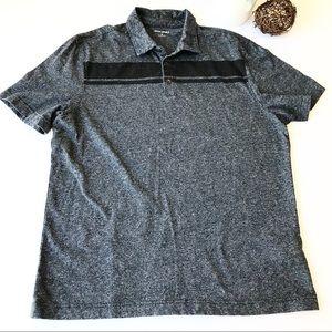BANANA REPUBLIC Gray Striped Polo Shirt JJ5